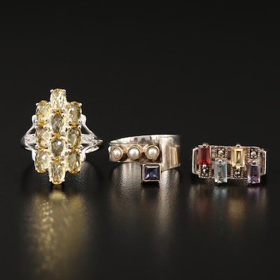Sterling Silver Ring Selection Featuring Marcasite, Topaz and Pearl Accents