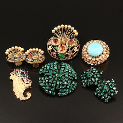 Vintage Costume Jewelry Selection with Imitation Pearl and Rhinestone Accents