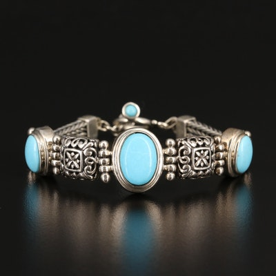 Sterling Silver Turquoise Bracelet with Filigree Detail
