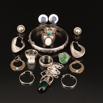 Selection of Sterling Silver Earrings, Rings, Bracelet and Pendant