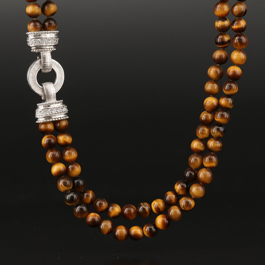 Judith Ripka Tiger's Eye and Cubic Zirconia Necklace with Sterling Clasp