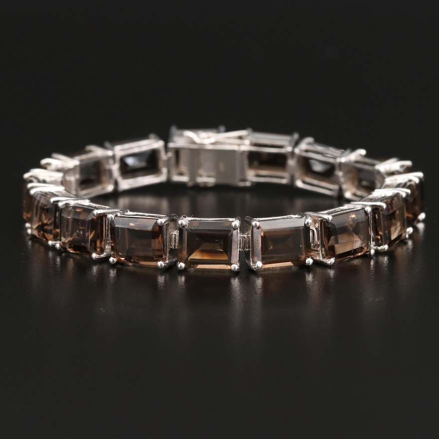 Sterling Smoky Quartz Line Bracelet