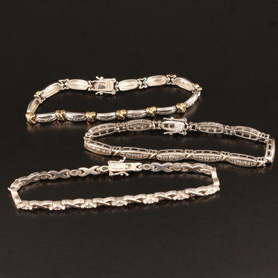 Sterling Silver Diamond and Cubic Zirconia Link Bracelets