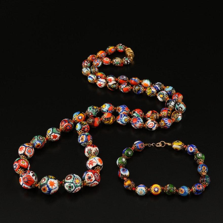 Vintage Millefiore Graduated Bead Necklace and Bracelet