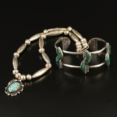 Western Style Sterling Eilat Stone Cuff with 900 and Sterling Turquoise Necklace