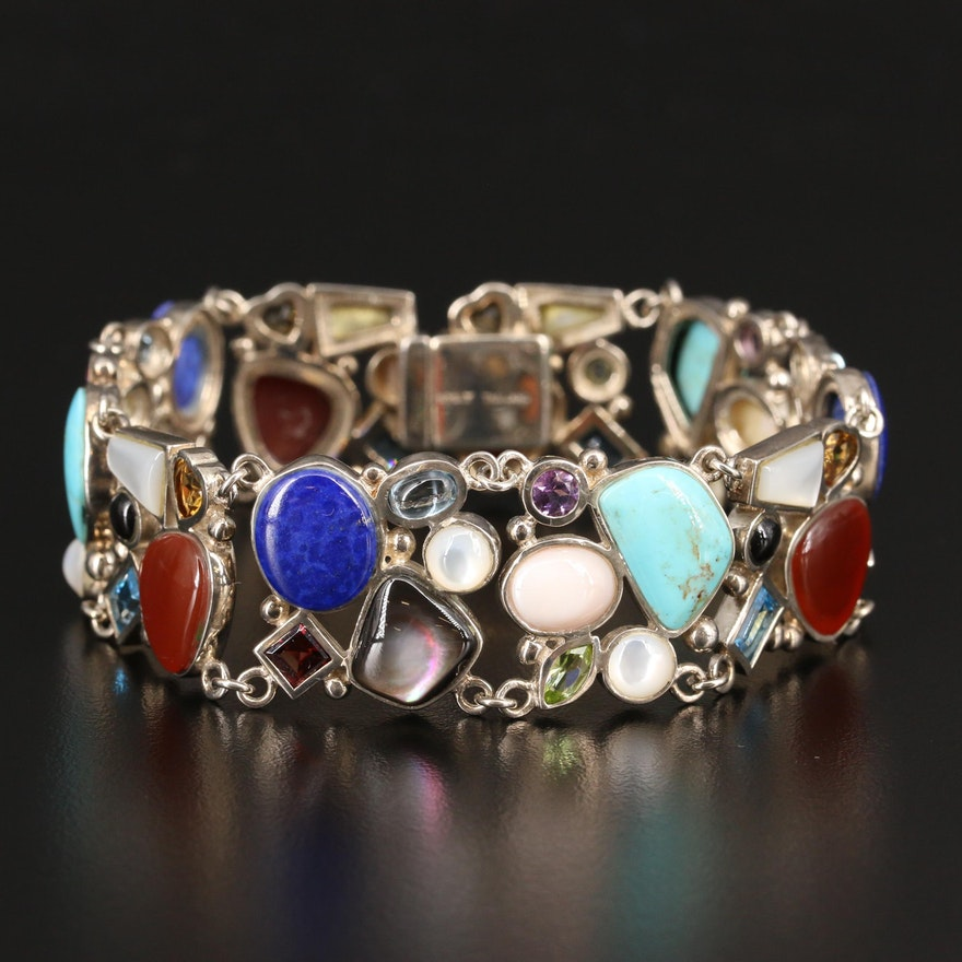 Sterling Silver Carnelian, Mother of Pearl and Garnet Panel Bracelet