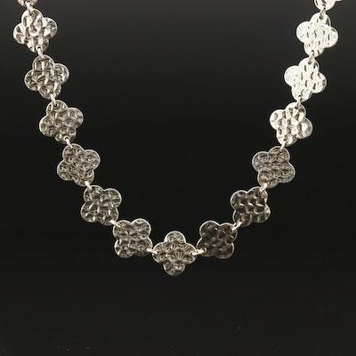 Heidi Klum Sterling Silver Quatrefoil Link Necklace with Hammered Finish