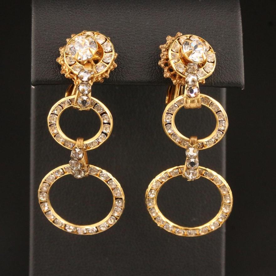 Vintage Miriam Haskell Rhinestone Clip Earrings