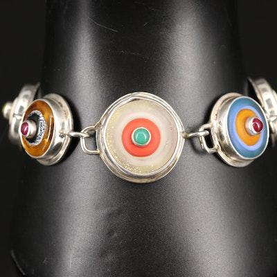 Sterling Silver Rhodolite Garnet, Tourmaline and Chalcedony Bracelet