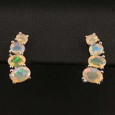 Sterling Silver Graduated Opal Earrings