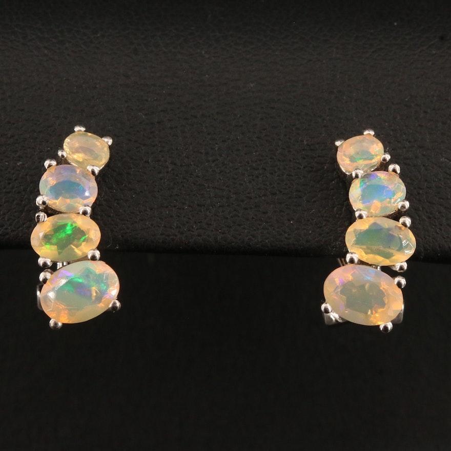 Sterling Silver Graduated Opal Earrings