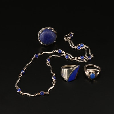 Sterling Silver Rings and Necklace with Cat's Eye Glass and Lapis Lazuli Accents
