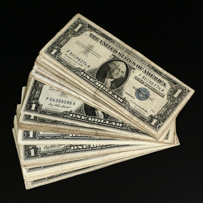 Sixty-Five Circulated $1 Blue Seal Silver Certificates