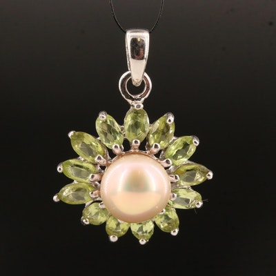 Sterling Silver Pearl and Peridot Floral Motif Pendant