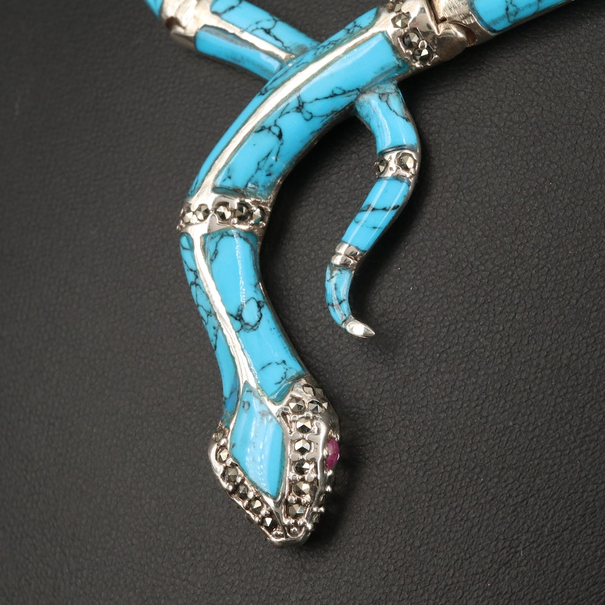 Sterling Silver Turquoise Snake Motif Choker with Ruby and Marcasite Accents