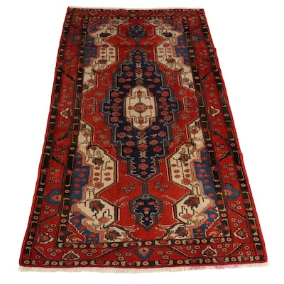 5'4 x 10' Hand-Knotted Persian Hamadan Wool Wide Runner Rug, 1970s