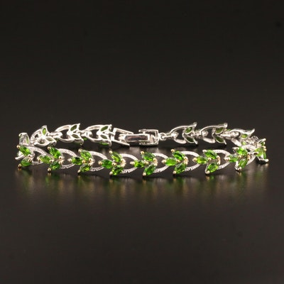 Sterling Silver Chrome Diopside Link Bracelet Featuring Foliate Motif