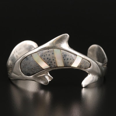Sterling Silver Coral and Mother of Pearl Dolphin Motif Cuff