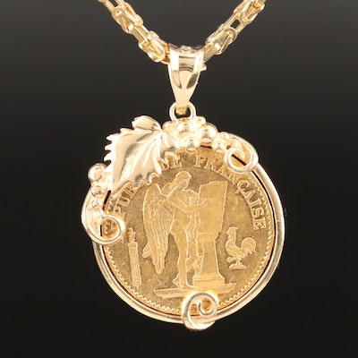 22K Coin Pendant with 14K Necklace and Setting