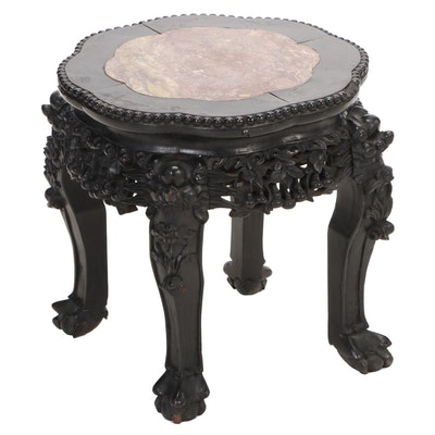 Chinese Carved Rosewood with Inlaid Marble Stand