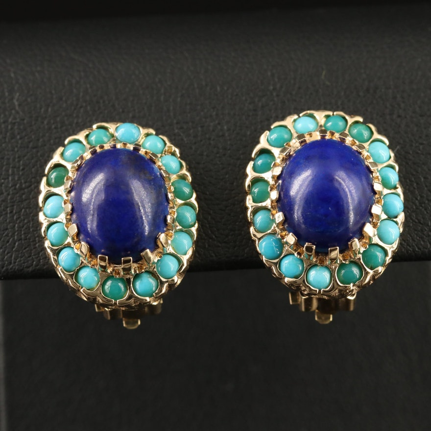 14K Lapis Lazuli and Turquoise Button Earrings