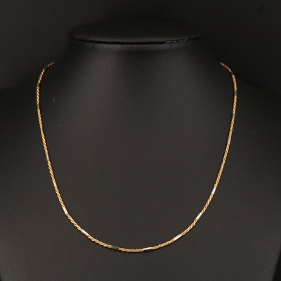 18K Rope and Bar Link Chain Necklace