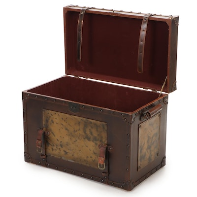 Faux Leather Steamer Trunk Home Décor, Late 20th Century