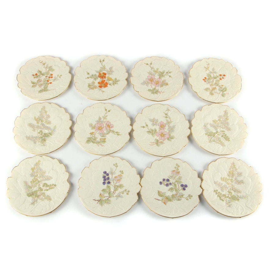 Royal Worcester Floral and Fruit Gilt Accented Bisque Plates