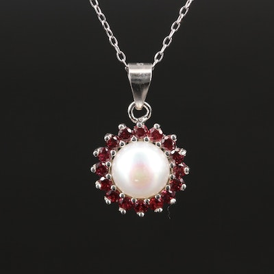Sterling Pearl Pendant Necklace with Rhodolite Garnet Halo