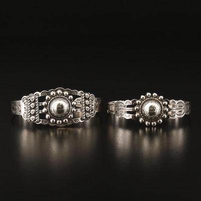 Southwestern Style 900 Silver Stampwork Cuffs