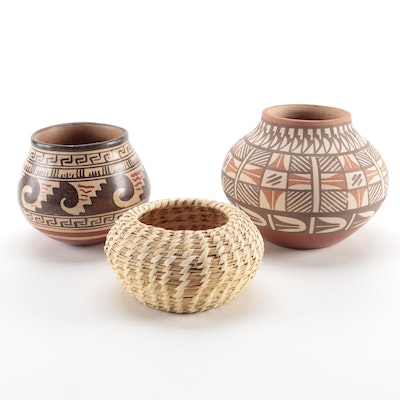 Jemez Pueblo and American Southwestern Pottery with Woven Seagrass Basket