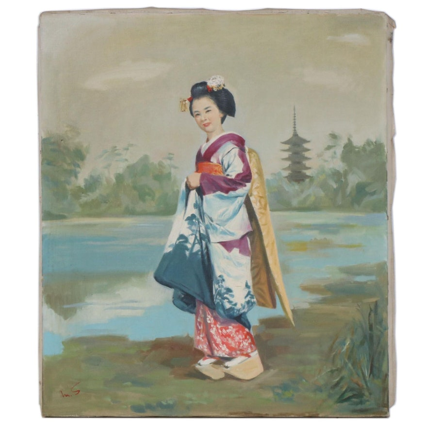 M. Shimada Acrylic Painting, Mid to Late 20th Century