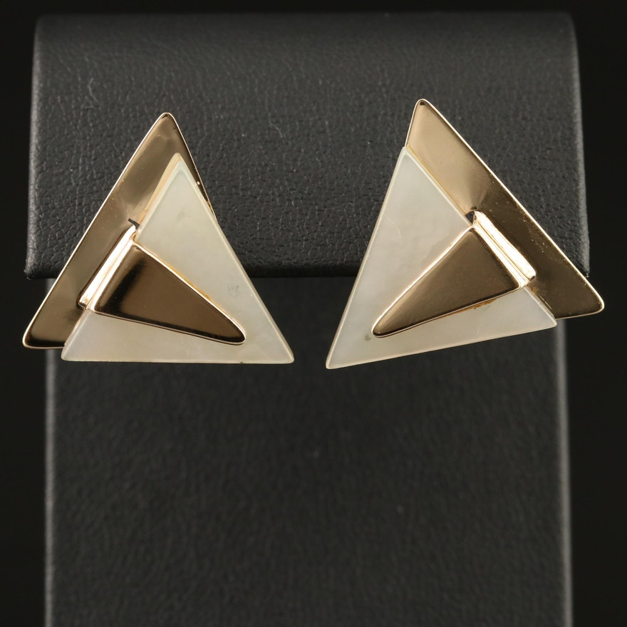 14K Mother of Pearl Triangular Earrings