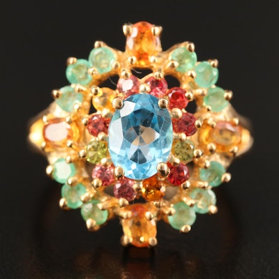 Sterling Silver Topaz, Emerald and Sapphire Cluster Ring