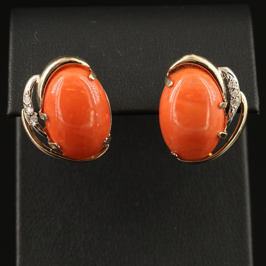 14K Coral and Diamond Button Earrings