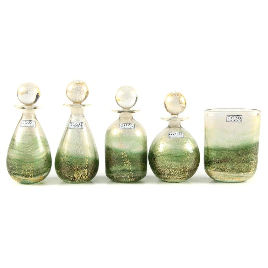 "Gozo Maltese Art Glass Green and Gold ""Verdi"" Decorative Bottles and Bud Vase"