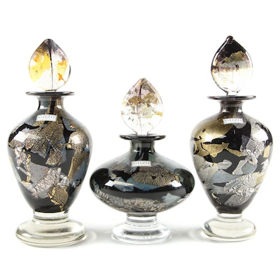 Gozo Black and Gold Art Glass Decorative Bottles with Stoppers