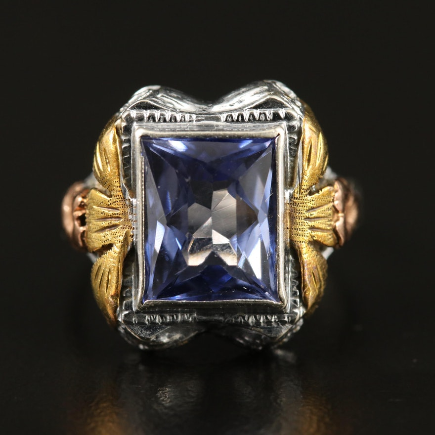 14K Tri-Color Sapphire Solitaire Ring