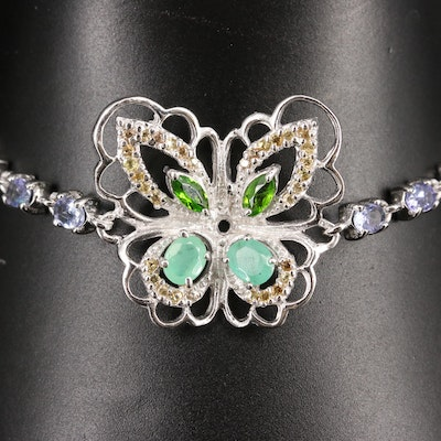 Sterling Emerald, Sapphire and Tanzanite Butterfly Bracelet