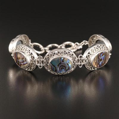 Sterling Silver Abalone Openwork Bracelet
