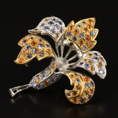 Sterling Silver Tanzanite and Sapphire Flower Brooch