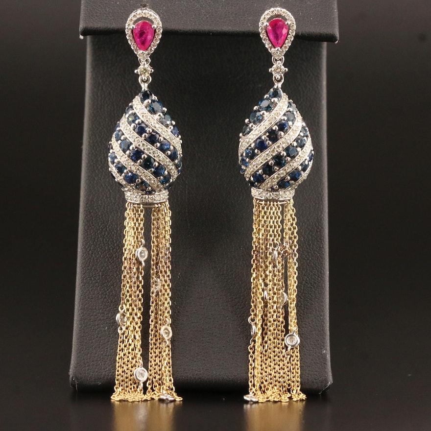 14K 1.90 CTW Diamond, Ruby and Sapphire Tassel Earrings