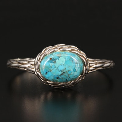 Sterling Silver Turquoise Textured Cuff