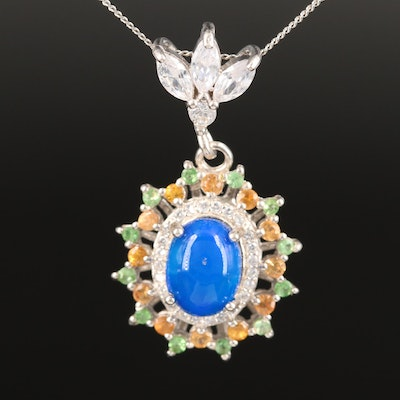 Sterling Silver Opal, Cubic Zirconia and Sapphire Pendant Necklace