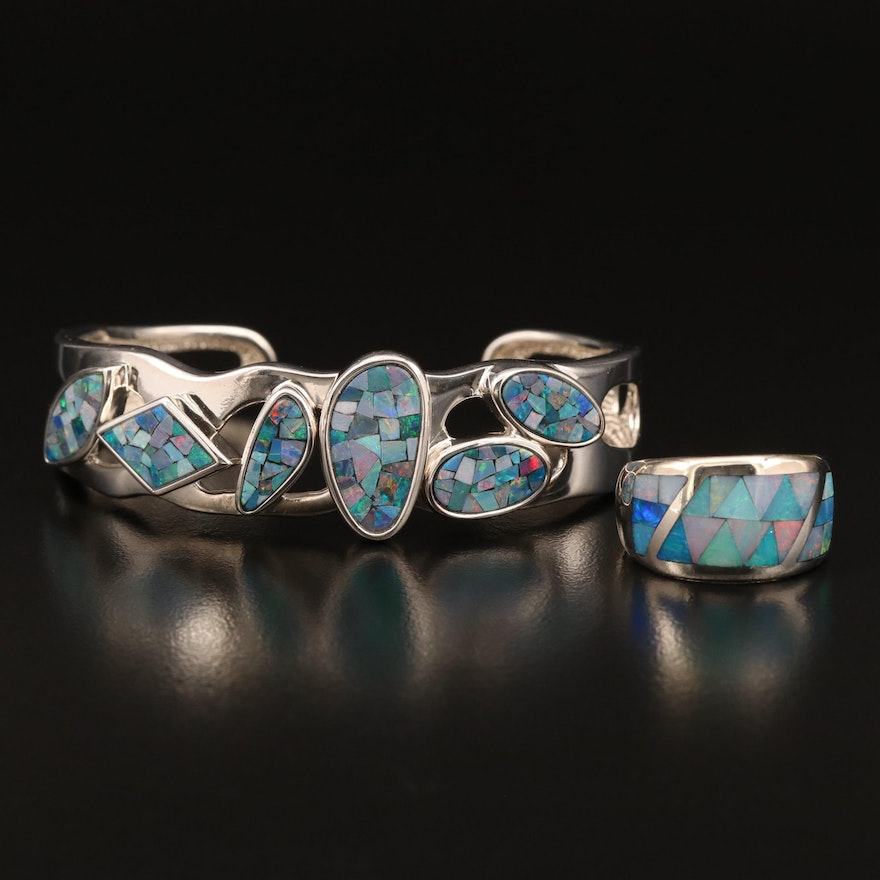 Sterling Silver Opal Inlay Ring and Cuff