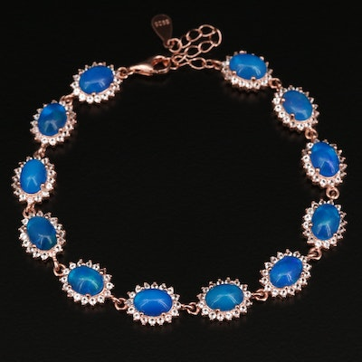Sterling Silver Opal and Topaz Link Bracelet