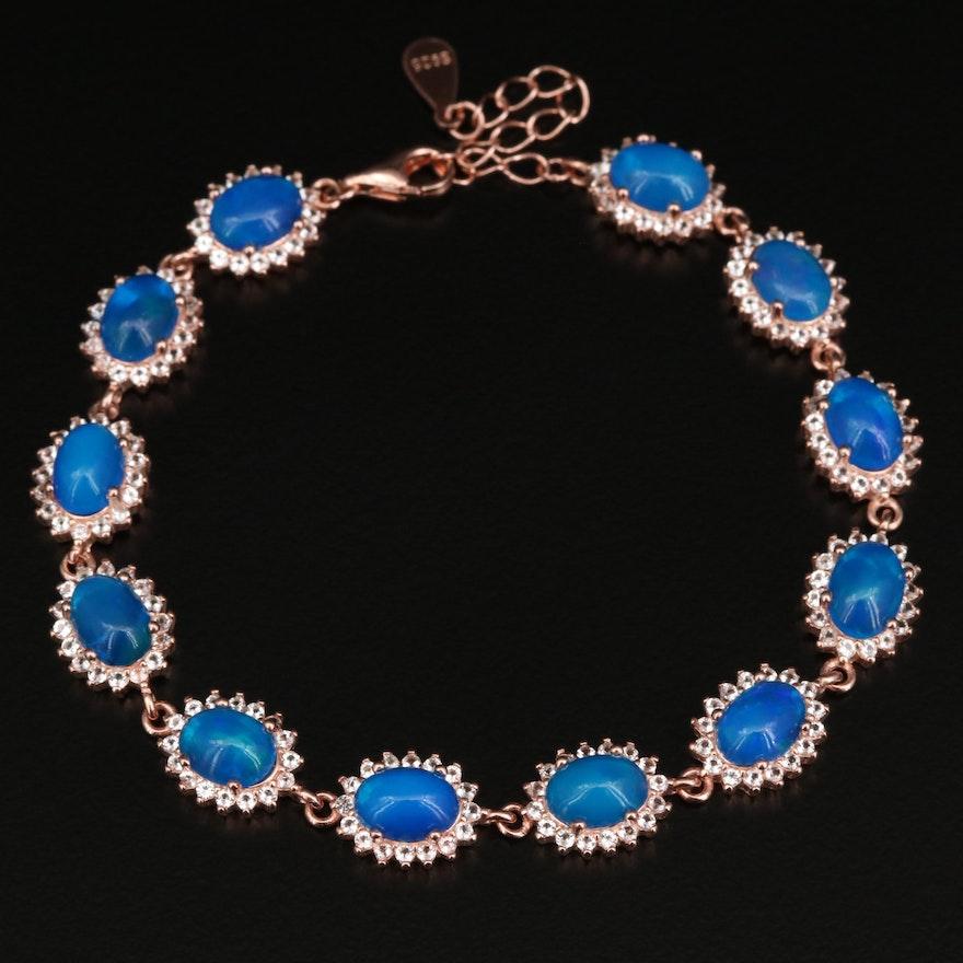 Sterling Silver Opal and Topaz Link Bracelet