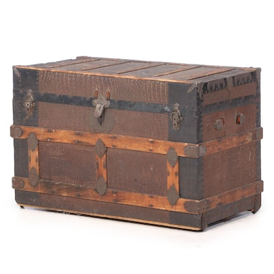 Late Victorian Alligator-Embossed Metal and Slatted Oak Flat-Top Steamer Trunk