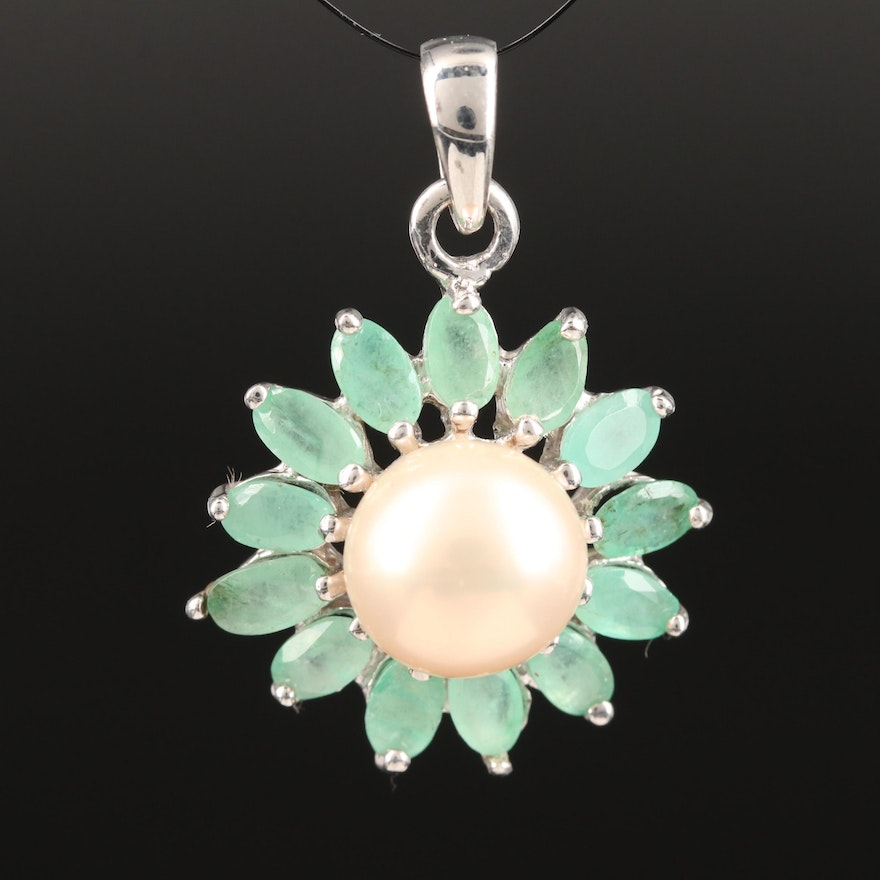 Sterling Silver Pearl and Emerald Flower Motif Pendant