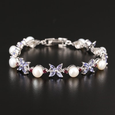 Sterling Silver Pearl, Tanzanite and Garnet Flower Motif Bracelet
